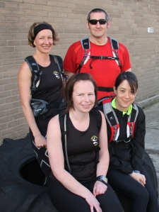 Louis, Michelle, Andy and me - all running Milton Keynes marathon and Hadrian's Wall together.
